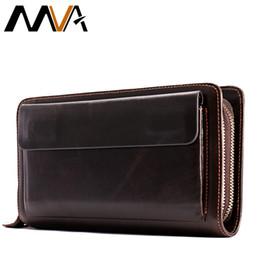 Long Male Wallet Zipper Australia - Mva Men's Clutch Male Wallet Men's Genuine Leather Double Zipper Clutch Bags Purse For Men Passport Phone Wallets Credit Card Y19052104