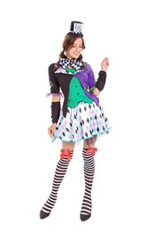 circus clothes Australia - Halloween Mad Hatter Alice Clown Circus Costume Adult Women Fancy Cos Short Tutu Dress Joking Clothing