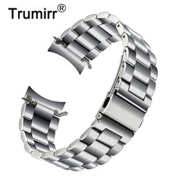 $enCountryForm.capitalKeyWord Australia - Premium Stainless Steel Watchband For Samsung Galaxy Watch 46mm Sm-r800 Sports Band Curved End Strap Wrist Bracelet Silver Black T190620