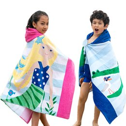 child bathrobe yellow NZ - 1pc Hooded Towel Beach Wrap Children Kids Cotton Poncho Swim Towel Hooded Cartoon Large Quick Dry Bath Towel Bathrobe