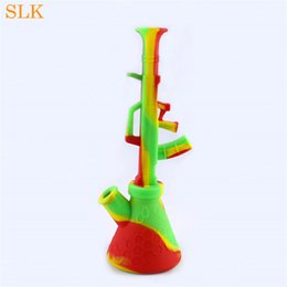 gun water bong NZ - Rifle AK47 Gun design silicone water bubbler pipe straight tube honeycomb crack water bongs unique dab rigs collapsible