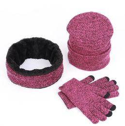 Tricoté bonnet écharpe gant ensemble 3pcs hiver tricotant unisexe épaissir plus velours écharpe Caps ensemble avec logo LJJO7122 en Solde