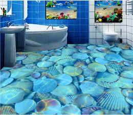 $enCountryForm.capitalKeyWord Australia - PVC Self Adhesive Waterproof Bookshelf Mural Wallpaper Clear sea shells bathroom bathroom bedroom 3D floo Sticker Living Room Study 3D floor