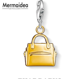 Golden Hand Bags Australia - Yellow golden new Fashion Hand Bag Charm Stylish Purse Bag Buckle 925 sterling Silver handbag Pendant For Bracelet Holder Women