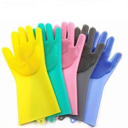 $enCountryForm.capitalKeyWord UK - Magic Washing Brush Silicone Glove Resuable Household Scrubber Anti Scald Dishwashing Gloves Kitchen Bed Bathroom Cleaning Tools 2pcs pair