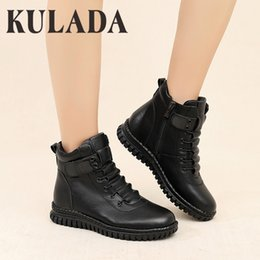 open toe platform ankle boots 2021 - KULADA Women Ankle Boots Autumn Waterproof Warm Woman Platform Non-slip Sole Boots Female Casual Shoes Ladies PU Leather