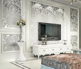 Wholesale Paper Rolls Australia - 10M*0.53M European non-woven wallpapers classic wall paper roll wallcovering luxury wallpaper for Living room Hall room decoration