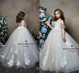 27ab7f863 Princess Straps Spaghetti V Neck Girls Pageant Dresses 2019 Light Champagne  Lace Appliqued Backless A Line Tulle Flower Girl Dresses BC0654