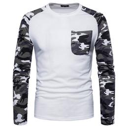 Camo Print Fashion Men NZ - Mens Designer t shirts 2019 Fashion Long Sleeve Breathable Tops Tee Shirt Camo sleeve Printed Casual Streetwear Mens Simple Shirt