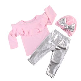 cute baby clothes wholesale UK - Cute baby girl clothes pink tops silver pant hat outfits 3-piece a set lovely girls baby long sleeve kid clothing wholesale suits