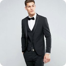 men black costume suits for wedding Australia - Black Slim Fit Men Suits for Wedding Groom Tuxedo 3Piece Latest Coat Pants Design Costume Homme Peaked Lapel Groomsmen Outfit Man Blazer