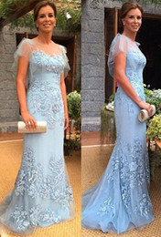 Wholesale black red flare plus size dresses resale online - 2019 Light Sky Blue Lace Mermaid Long Evening Dresses Flare Short Sleeves Tulle Applique Formal Evening Gowns Vestidos BC1332