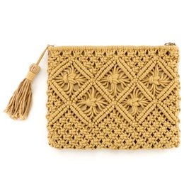 handmade vintage clutch bags 2019 - Handmade Woven Handbag Vintage Tassel Cotton Rope Knitted Messenger Bag Lady Fresh Summer Beach Tote Fashion Contracted