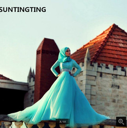 $enCountryForm.capitalKeyWord Australia - 2019 New Islamic Blue Long Sleeve modest women prom Dresses Hijab Muslim beaded crystals modest prom gowns Vestido de Noiva best selling
