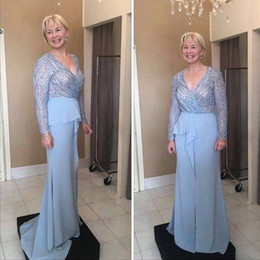 mother groom evening gowns Australia - Elegant Blue Mother Of Bride Groom Dresses 2019 Sexy V Neck Long Sleeves Top Lace Plus Size Pleats Formal Women Evening Occasion Gowns