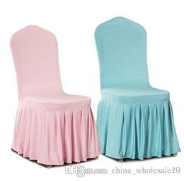 Chair Factories Australia - Factory Direct Aqua colour lycra chair cover with skirt all around the chair bottom spandex skirt chair cover for wedding party decoration