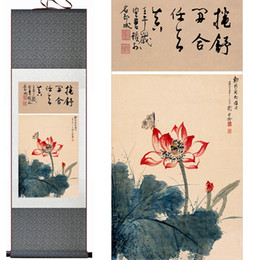 Chinese Water Painting Australia - Chinese Art And Flower Painting Home Office Decoration Chinese Scroll Painting Water Lily Paintingprinted Painting