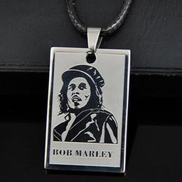 $enCountryForm.capitalKeyWord UK - LOT 10pcs Cool Boy Men's Reggae Singer Bob Marley Pendant Stainless Steel Dog Tag Chain Necklace Gift ST02
