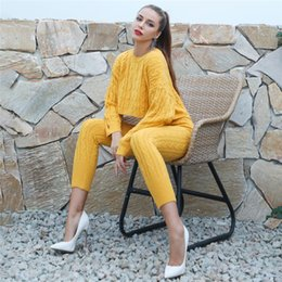 Longer Length Sweaters For Women Australia - Womens Sweater two piece sets O Neck Full Sleeve Long Trousers Elegant Pullover Knitted Women sweatsuits for women