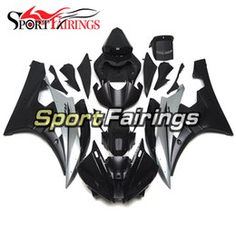 Black Body Molding Australia - Injection Molding Complete Cowlings For Yamaha YZF-600 R6 Year 2006 2007 ABS Plastic Fairing Kit 06 07 R6 Gloss Silver Flat Black Body Works