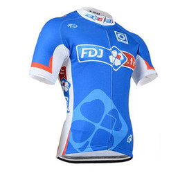 polyester short sleeve shirts Australia - FDJ Pro team cycling jersey team summer short sleeve bike shirt quick dry Breathable mens tour de france bicycle clothing Ropa Ciclismo