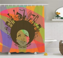 $enCountryForm.capitalKeyWord Canada - Illustration of African American Young Woman Portrait with Musical instruments, Bathroom Accessories, 84 Inches Extralong, Olive Salmon
