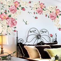 Wall Stickers Romantic Flower Australia - 190*90cm Big Size Peony Flower Wall Stickers Bedroom TV Sofa Wall Art Decal Decoration Romantic Flowers Home Decors Poster