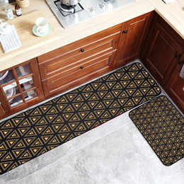 kitchen mat rug Australia - Modern Black gold Geometric lines Kitchen strip carpet Non-slip mat Bedroom bedside rug printing floor mat plush door