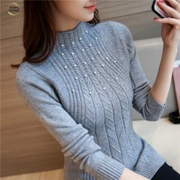 TurTles beads online shopping - 2019 Sweater New Korean Women Slim Oblique Twist Elastic Semi Bead Fixed Decoration Sleeve Head Warm Turtleneck Backing