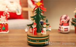 Christmas Gift Box Decoration Australia - Free shipping 2019 Christmas gift exquisite wooden carousel music box Christmas tree music box gift desktop decoration