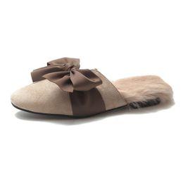 16fd627c9d2 Women Home Slippers Winter Autumn Comfortable Plush Fur Round Flats Shoes  Half Slippers Bow Ladies Cute Warm Fashion Sandals