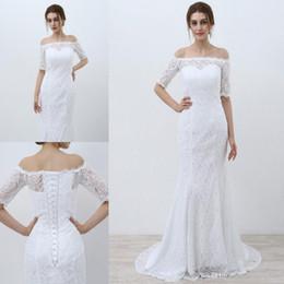 Custom Lace Up Charms Australia - 2019 Modern Graceful Mermaid Wedding Dresses Bateau Half Sleeve Lace Appliques Fashion Bridal Dresses Lace-up Back Charming