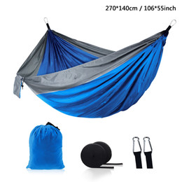 Outdoor Parachute Cloth Hammock Foldable Field Camping Swing Hanging Bed Nylon Hammocks With Ropes Carabiners 12 Color DH1338 on Sale