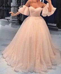 $enCountryForm.capitalKeyWord Australia - 2019 Bling Blush Ball Gown Wedding Dress Half Sleeves Off Shoulder Sweetheart Floor Length Lace-up Saudi Arabia Bride Dresses