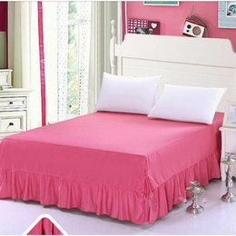 patchwork bedspreads Canada - New solid color 100% cotton bed cover set hot sale 1.8m 2m bedspreads bed mattress cover high quality bedskirt coverlet set