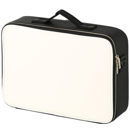 making light box NZ - Leather Clapboard Cosmetic Bag Professional Make Up Box Large Capacity Storage Handbag Travel Insert Toiletry Makeup SuitcaseMX190823
