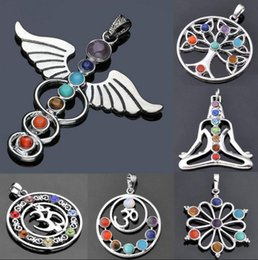Reiki Healing Wholesalers Australia - Natural Gemstone Reiki Chakra Healing Moon Cross Beads Silver Pendant for Necklace