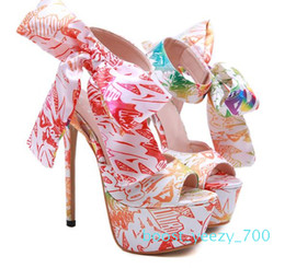 floral print shoes women Australia - 15cm Adorable bowtie floral printed ultra high heels luxury women designer shoes size 35 to 40 b70