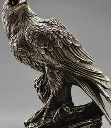 Metal Eagle Australia - Collectible Decorated Old Handwork Tibet Silver Carve Eagle On Tree Box & Statue metal handicraft