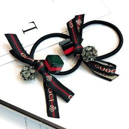 Tail bow online shopping - Korea Dongdaemun hair piece Czech diamond ball ribbon big name letter bow leather rope head rope pony tail flower hair ring A11