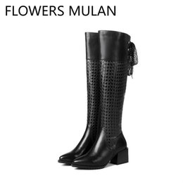 $enCountryForm.capitalKeyWord UK - Chic Patchwork Black Embossing Plaid Leather Winter Boots Women Knee High Ladies Booties Round Toe Chunky Heel Shoes Woman Botas