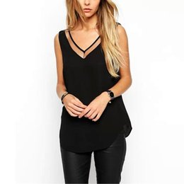 $enCountryForm.capitalKeyWord Australia - Women Top Summer V Neck Chiffon Vest Sleeveless Casual Tank Blusas Tops Sheer Mesh Patchwork T Shirt Bottom Camisole New