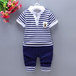 sail clothes 2020 - DIIMUU Fashion Summer Baby Custome Boy Clothes Kids Toddler Children Boys Clothing Sail Striped Short T-Shirt + Solid Pa