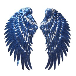 wing jeans UK - 2PCS Blue Sequin Feather Angel Wings Sew Iron on Patches 33CM For Dress Jeans Shirt DIY Appliques Decoration