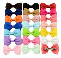 colorful bows NZ - 20 Color 2.75 Inch Colorful Barrettes Ribbon Bows Girls hair bows Boutique Hair Clip Kids Hair Accessories Hairpin Gift 643
