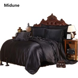 Purple Brown Bedding Australia - 100% good quality Satin Silk Bedding Sets Flat Fitted Sheet Solid color Queen King size 4pcs 6pcs pure purple Duvet Cover golden