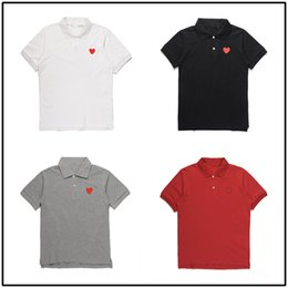 Red White Heart Cotton Australia - PLAYS POLO shirt Japanese style brand card heart men's women's cotton lapels short sleeves white red hearts couples street loose