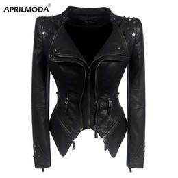 $enCountryForm.capitalKeyWord Australia - Women Faux Leather PU Jacket Punk Rivet Winter Autumn Black Motorcycle Jacket Outerwear Gothic Faux Long Sleeve PU Leather Coat
