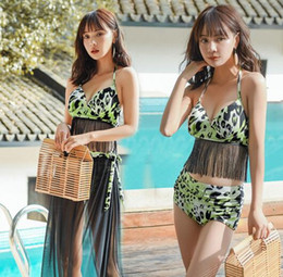 Wholesale korean suit female resale online - 2019 new women Swimming suit female ins wind split three piece suit with steel bracket gathers students Xiao Qingxin Korean beach swimsuit