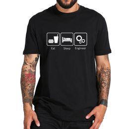 Engine Designs Australia - Eat Sleep Engineer Tops Hot Design Fashion Engine Gear Workaholic Life Short Sleeved 100% Cotton T-shirt Eu Size